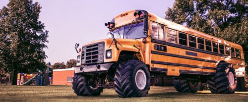 school bus with big wheels
